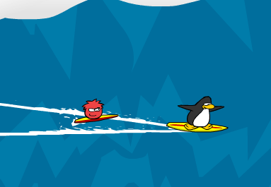 surfing with a red puffle!